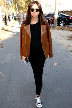 Miroslava Duma in leather moto jacket
