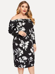 f98d4f27ade15 Plus Off Shoulder Floral Dress -SHEIN(SHEINSIDE) Plus Size Fall Fashion,  Plus