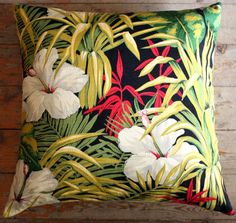 vintage hibiscus barkcloth cushion