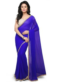Plain Georgette Saree in Royal Blue