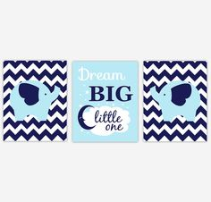 Blue Baby Boy Nursery Art Navy Blue Elephants Dream Big Little One Safari Animal Zoo Jungle Baby Nursery Decor Boy Room Boy Nursery Quotes #1007  ** CUSTOMIZE THE COLORS TO MATCH YOUR DECOR**  SET OF 3 UNFRAMED PRINTS These prints would make a great addition to any Baby Nursery - Childs Room or Playroom. They would also make for a great gift.  FRAMES ARE NOT INCLUDED - FOR DISPLAY PURPOSES ONLY  * Watermark WILL NOT be on the actual Print.  EACH PRINT - SIZE OPTIONS: 5 x 7 8 x 10 11 x 14…