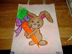 Melissas Jewelry and Gems: 2 New Hand Painted Gift Bags Easter and Pink Robin
