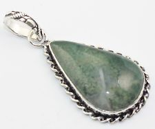 GREEN MOSS AGATE FASHION JEWELRY  .925 SILVER PLATED PENDANT  S5661