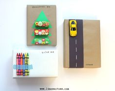 """Interactive Gift Wrap for Kids 1. Hot glue a Hotwheels car to a road made of construction paper 2. """"Color Me"""" - wrap in plain white paper and tape some crayons onto the box with fun washi tape 3. Decorat Me"""" Christmas Tree Wrapping - wrap in simple craft paper, glue shape of Christmas tree on top and then tape sets of Christmas Stickers 4.Crossword Gift Wrap - buy custom or make your own wordsearch"""