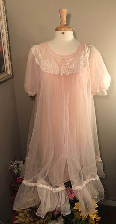 Vintage Blush Pink Dress Ecru Lace Sheer Ruffle Sleeveless Waltz Length Lined
