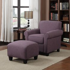 Bring traditional style into your home with this plush amethyst-purple chair and ottoman set.The comfortable chair features a polyester and foam seat cushion, while the matching ottoman has a firm cushion that is perfect for use as a footrest.