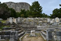 the buleuterion(city hall)of the ancient city of priene,western turkey.the hall was mostly used by hte city council,almost square in shape with stone seats as een and an altar in the middle.it was built around 2nd. century b.c.