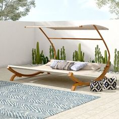 Stuart Outdoor Double Chaise With Canopy And Cushions