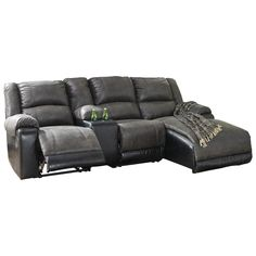 Shop for the Signature Design by Ashley Nantahala Reclining Chaise Sofa with Storage Console at Gill Brothers Furniture - Your Muncie, Anderson, Marion, IN Furniture & Mattress Store Reclining Sectional With Chaise, Loveseat Recliners, Chaise Cushions, Sectional Sofas, Home Theater Furniture, Family Room Furniture, Moving Furniture, Royal Furniture, Leather Furniture