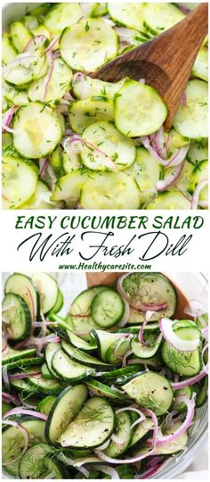 Easy Cucumber Salad with Fresh Dill – HealthyCareSite, Salad Recipes Healthy Lunch, Salad Recipes For Dinner, Chicken Salad Recipes, Snack Recipes, Healthy Eating, Snacks, Easy Cucumber Salad, Cucumber Salad Vinegar, Salads For A Crowd