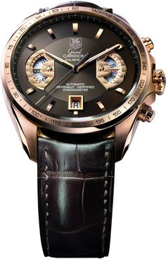 TAG Heuer Grand Carrera 17 RS Calibre Chronograph, rose gold with a brown dial, on hand-sewn alligator leather strap... classy