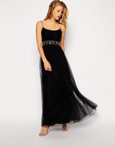 Needle & Thread Tulle Overlay Ballet Embellished Waist Maxi Evening Dress UK 8