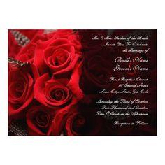 Red Roses Wedding Invitation 2. $2.35 per invite. #weddings #invitations #red #roses #customized