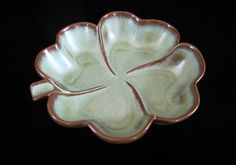 Frankoma Pottery #223 Clover Dish Vintage Prairie Green Candy Bowl or Ashtray Sapulpa Red Clay St Patricks Day Decoration Midcentury OK USA by SaltwaterVillage on Etsy