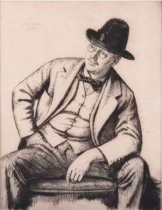 "Modern British Art Works by Randolph Schwabe: ""Portrait of Francis Dodd, Glasgow School Of Art, Male Portraits, Portrait Art, Printmaking, Modern Art, Artist, Plate, Artists, Printing"