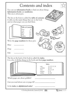 20 Worksheets Table Of Contents and Index 3 grade Reading Worksheets Table of contents and index The kids can enjoy Number Worksheets, Math Worksheets, Alphabet Worksheets, Colo. 1st Grade Reading Worksheets, First Grade Reading, First Grade Classroom, Math Worksheets, Library Skills, Library Lessons, Parts Of A Book, The Book, Text Features First Grade
