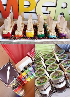 "Camp themed birthday party? Complete with crafts and games! I like the idea of having different ""stations"" for activities. Kids get to make their own party ""favors"" (the crafts!) Need a tote bag for them to carry everything home."