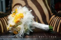 Sicola's Florist Wedding Bouquets  #Flowers #Houston #Yellow #Feathers