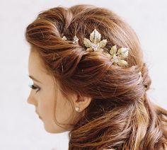 Blattgold und Strass Braut Haarnadeln  von EricaElizabethDesign
