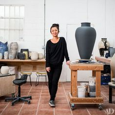 Ceramist Shio Kusaka in her Los Angeles studio. Kusaka is represented in the U.S. by Anton Kern Gallery, Shane Campbell Gallery, and Blum & Poe.