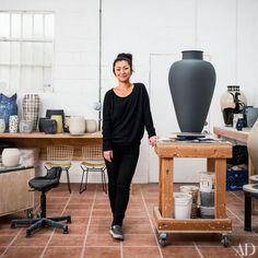Ceramist Shio Kusaka in her Los Angeles studio. Kusaka is represented in the U.S. by Anton Kern Gallery, Shane Campbell Gallery, and Blum & Poe.