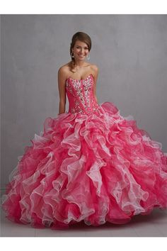 Ball Gown Strapless Multi Colored Hot Pink Tulle Ruffle Beaded Corset Prom Dress