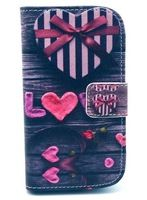 S3 Mini pink love Pattern Leather Case mobile phone bag  for Samsung Galaxy S4 Mini Protector Phone cases