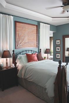 Decorative wall behind bed | Wall color, curtain behind bed | Home Decor