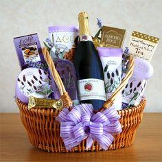 A LITTLE SOMETHING FOR MOM - Sparkling Lavender Spa Gift Basket for mommy.