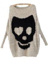 Grey Batwing Long Sleeve Skull Print Pullovers Sweater $32.96