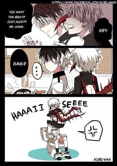Ken Kaneki is annoying Sasaki Haise to accept him. Tokyo Ghoul:re Credits to owner/artist (Kuru San)
