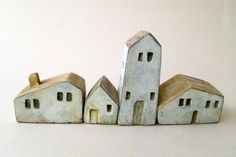 miniature ceramic and wooden houses, home decor, handmade, unique gift, Christmas gift,handmade ceramic sculpture. My etsy shop: https://www.etsy.com/il-en/shop/VesnaGusmanArt