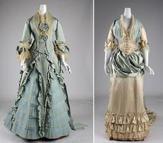 Серо-голубой и кремовый Dress for dinner parties, A.Korbe, France, in 1873, and Lord & Taylor, United States, 1877-83, the two - from the collection of the Metropolitan Museum.