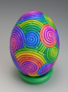 Pastel Rainbow Easter Egg in Polymer Clay Filigree by Starless Clay (Etsy)