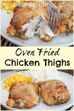 Tender bone-in chicken thighs marinated in buttermilk, seasoning, and sour cream. Tossed with flour and baked till crisp. Oven Fried Chicken Thighs are a family favorite chicken recipe and a great weeknight recipe. #Chicken #ChickenThighs #Crispy