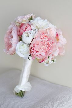 Silk Bride Bouquet Peony Flowers Pink Peach Spring Mix Shabby Chic Wedding Decor on Etsy, $89.00