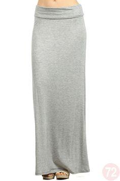 Grey solid maxi skirt.