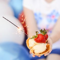 Homemade edible waffle cone ice cream bowls are simple and delicious.  And fast--perfect for last minute 4th of July get-togethers!