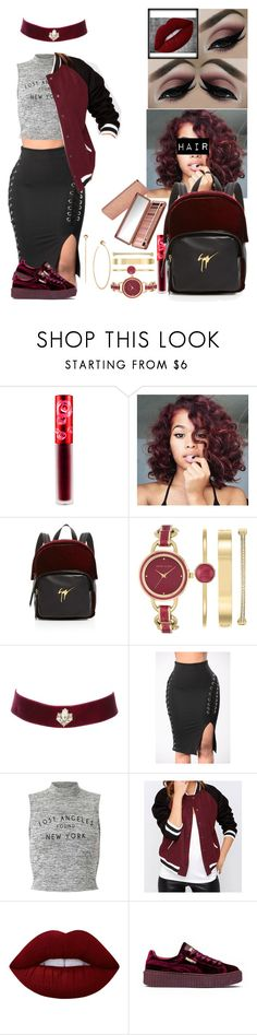 """""""A Darker Shade Of Red"""" by nesha-the-realest ❤ liked on Polyvore featuring Lime Crime, Giuseppe Zanotti, Anne Klein, Urban Decay, Charlotte Russe, Miss Selfridge, Puma and Michael Kors"""
