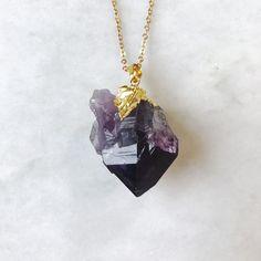 Amethyst Halskette Kristall Anhänger von TheHollowGeode auf Etsy