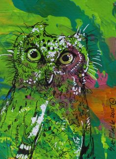 ACEO Nibblefest NFAC ORIGINAL Acrylic Painting Night Birds Barn Owl by Sue Flask #Miniature