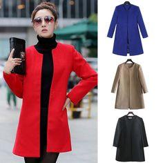 2014 Women s Slim Fit Trench Coat OL Wear To Work Outerwear Jacket Overcoat  Tops 8568f4227d1d