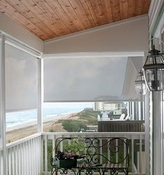 Outdoor Shades & Blinds for Patios & Porches Outdoor Sun Shade, Patio Shade, Solar Shades, Shades Blinds, Coastal Homes, Porch Ideas, French Doors, Bali, Exterior