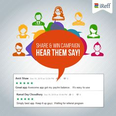 Customer satisfaction is a measure of our success! Genuine #reviews from our Share & Win campaign participants. Find the best recharge plans and save time & money with iReff.  ‪#‎UserVoice‬ ‪#‎Campaign‬ ‪#‎iReff‬