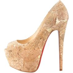 Christian Louboutin Highness Cork Peep-Toe Platform Red Sole Pump (1 490 AUD) ❤ liked on Polyvore featuring shoes, pumps, heels, sapatos, high heels, high heel pumps, peep toe pumps, cork pumps, christian louboutin pumps and high heel court shoes