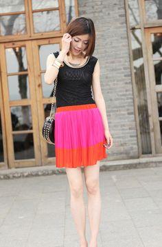 Rose-pink Vintage Pleated Skirt