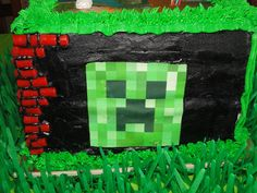 Awesome cake at a Minecraft party! See more party ideas at CatchMyParty.com!