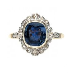 vintage edwardian sapphire ring / trumpet and horn