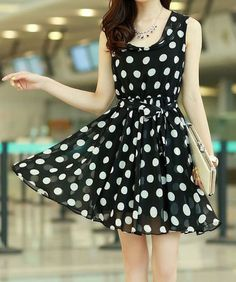 Black Polka Dot Sleeveless Chiffon Dress
