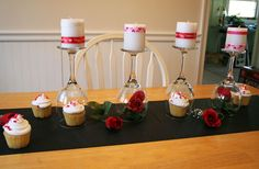 diy valentine s day table, painted furniture, seasonal holiday decor, valentines day ideas, Put candles on top wrapped in ribbon and glitter tape
